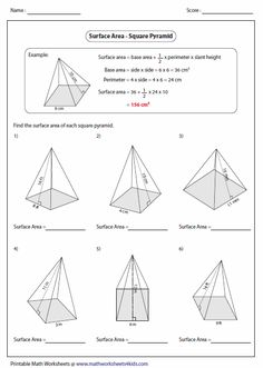 Worksheets Surface Area Of A Pyramid Worksheet volume and surface area of cylinders worksheet tes worksheets a huge collection contain rectangular prism cone cylinder sphere other prisms pyramids