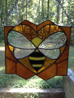Stained Glass Honey Bee LOVE by GlassStudio820 on Etsy, $40.00