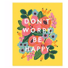 Large Don't Worry Be Happy Print (290 CNY) ❤ liked on Polyvore featuring home, home decor, wall art, colorful wall art, gouache painting, colorful home decor and colorful paintings