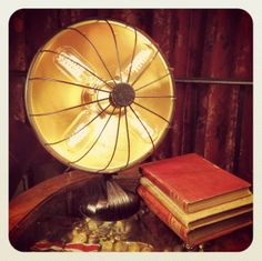 Desk Lamp made from old radiant heater, with antique style bulbs. #lamp #light #heater #fan #upcycle #antique #vintage #beaulieudesigns