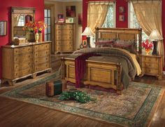 teen room, Luxury Bedroom Design Ideas Comfortable Bed Sideboard And Buffets Pattern Square Carpet Flooring Table Lamp Wooden Chest Of Drawer Wooden Flooring Red Wall Glass Window Brown Curtains Red Flower Pillow: Fascinating Rustic Bedroom Design Ideas with Old Furniture
