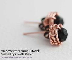 The Beading Gem's Journal: Wire Wrapped Copper Stud Earrings.  #Wire #Jewelry #Tutorials