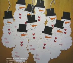 Snowman Tags made with Scallop Circle Punchs Christmas Card Crafts, Stampin Up Christmas, Christmas Snowman, Christmas Lights, Holiday Cards, Christmas Holidays, Christmas Ideas, Snowmen At Night, Card Ideas