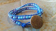 Double Leather Wrap Beaded Bracelet Pearl Blue by StudioSunshineCo
