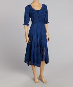 Look what I found on #zulily! Blue Peasant Dress by Advance Apparels #zulilyfinds
