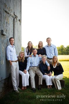 Family photo near barn