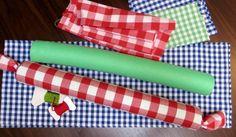 jeux d'éveil à fabriquer avec du tissu et des frites de piscine
