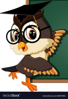 Owl teacher at blackboard vector image on VectorStock Flower Crafts Kids, Owl Crafts, Cute Owl Cartoon, Owl Artwork, Owl Wallpaper, Logos Retro, Wooden Owl, Alcohol Ink Crafts, Disney Background