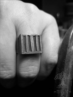 Triangle Ring US Triangle Hand carved signet ring Forged and hewed Signet Ring Oxidized signet ring Dark Silver