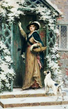 """""""Into Christmas atmosphere"""" by George Sheridan Knowles (1863 - 1931, British painter), Victorian Genre Artist."""