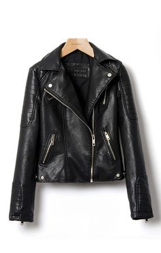 Black Turn-down Collar Long Sleeves PU Leather Jacket