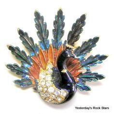 ART enameled peacock pin