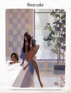Edmond Kiraz 1978 Sexy Girl Nude, Kiraz-color, Making-up illustrated by Edmond Kiraz | Hprints.com