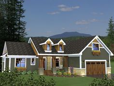 Lovely 3 bedroom Craftsman style home with a large bonus room above the garage. House Plan # 481230.