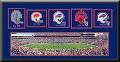 Buffalo Bills Ralph Wilson Framed & Double Matted With Buffalo Bills Wool Felt Logos