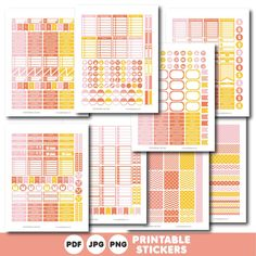 Coral, yellow and pink printable weekly planner stickers with daily stickers, work stickers, fitness stickers and much more, STI-402