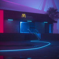 Mc Donalds synthwave new retro wave futuristic artwork digital art Night Aesthetic, Purple Aesthetic, Retro Aesthetic, Neon Noir, Vaporwave Art, Neon Nights, Pics Art, Retro Waves, Retro Futurism