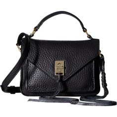 Rebecca Minkoff Mini Darren Messenger (Black) Messenger Bags ($195) ❤ liked on Polyvore featuring bags, messenger bags, flat bags, hardware bag, courier bag, handle bag and strap bag