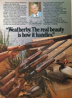 1981 Print Ad of Weatherby Olympian, Regency, Patrician Pump & Centurion Shotgun Vintage Patches, Hard To Find, Olympians, Print Ads, Shotgun, Vintage Advertisements, Regency, Advertising, Pumps