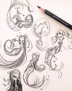 Some rough concepts..Mythical Mermaids show this weekend. :) #MythicalMermaids #TricksterGallery