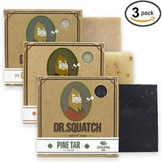 Dr. Squatch Men's Soap Sampler Pack (3 Bars) - Pine Tar, ...