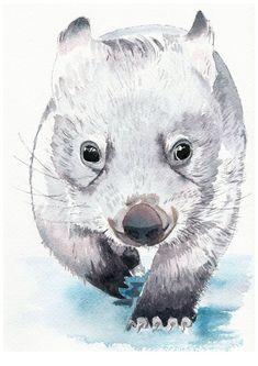 Watercolour painting of a baby wombat Watercolor Animals, Watercolor Paintings, Watercolours, Watercolour Illustration, Baby Wombat, Australia Animals, Baby Art, Aboriginal Art, Animal Drawings