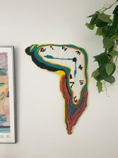 Funky Rugs, Cool Rugs, Fuchs Illustration, Melting Clock, Hand Tufted Rugs, Punch Needle, Oeuvre D'art, Textile Art, Fiber Art