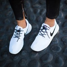 white Nike kicks #shoes #sneakers