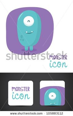 Cute, friendly monster icon such logo and stylized business cards, EPS10 vector. by Everyday smiles, via ShutterStock