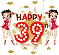 Betty Boop Happy 39th Birthday, Happy 39th Birthday Betty Boop Birthday, 39th Birthday, Celebrations, Minnie Mouse, Disney Characters, Fictional Characters, Holidays, Christmas Ornaments, Holiday Decor