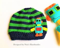 3497d381ec3 Knit Striped Navy and Green Robot Hat Boys Beanie