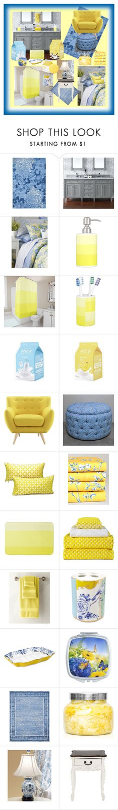 """""""Milk Bed & Bath Retreat"""" by aurorasblueheaven ❤ liked on Polyvore featuring beauty, Safavieh, Laura Ashley, Modway, Whit and Alex, HAY, PiP Studio, Capri Blue and Country Curtains"""