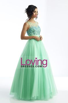 Magnificent Scoop V Back Tulle Prom Dress Floor Length Rhinestone Beaded Bodice Mint