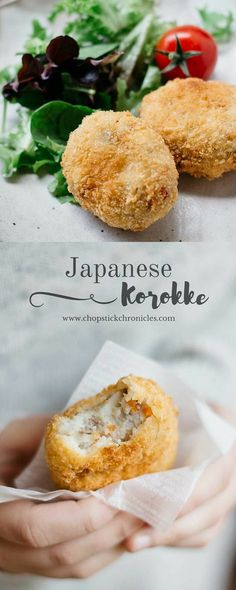 Japanese Korokke and Drink anime Japanese potato croquettes Croquettes Recipe, Potato Croquettes, Vegan Croquettes, Japanese Potato, Japanese Dishes, Japanese Drinks, Japanese Bento Box, Gastronomia, Homemade Dog Food