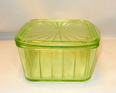Vintage Anchor Hocking Green Depression Era Glass Refrigerator Container