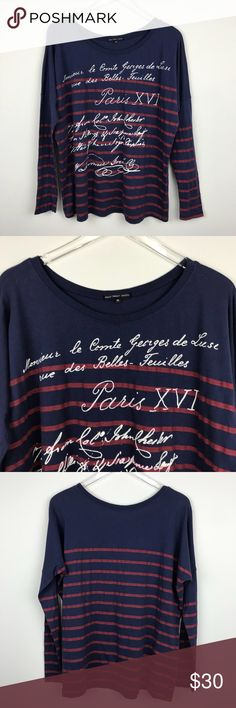 """[Urban Outfitters] Paris Striped Graphic Tee Shirt Long sleeve top. Relaxed fit. Breton stripe with text writing. By Truly Madly Deeply from Urban Outfitters.  ▪️Pit to Pit: 22"""" ▪️Length: 26"""" ▪️Condition: NWOT. New/Never worn.  ▫️BB11 Urban Outfitters Tops Tees - Long Sleeve"""