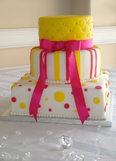 Yellow & Hot Pink Polka Dots with Stripes