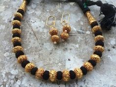 Black small beads thread necklace by Namibia_The Jewel Store Price Rs Gold Jewellery Design, Bead Jewellery, Beaded Jewelry, Silver Jewelry, Saree Jewellery, Beaded Necklace, Stylish Jewelry, Simple Jewelry, Fashion Jewelry
