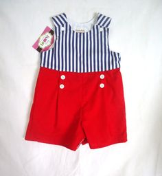 Sailor Baby Boy Romper  Toddler by LoopsyBaby, $25.00 #loopsybaby #nautical #etsyshop #boys #summer #baby #kidsclothing  #babyromper #sailor #nauticalromper #redbluewhite