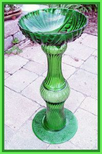 made from vases, and a candy dish-neat for a bird bath in the garden