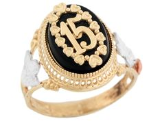 quinceanera jewelry | 10k Two Tone Gold Quinceanera 15 Anos Angel Rose Flower Filigree Onyx ...