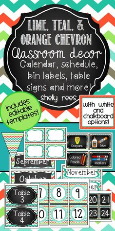 Lime, Teal, and Orange Chevron EDITABLE Classroom Decor Set.  Woohooo!  Love the colors and choices with this packet!  Using this in my classroom this year...can't wait!