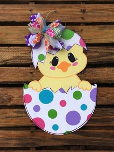 Chick Door Hanger, Easter Door Hanger, Door Hanger, Egg Door Hanger - Please attach a note to the seller with the initial, if you do not wish to have any customization o - Easter Projects, Easter Crafts For Kids, Preschool Crafts, Wood Crafts, Diy And Crafts, Paper Crafts, Easter Art, Easter Eggs, Easter Decor