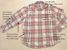 How to turn a really really large very wide plaid mens shirt into a fitted awesome little get up shirt by della