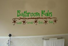 Bathroom Rules Monkey Vinyl Wall Art Decal from designstudiosigns on Etsy. Saved to Vinyl Wall Art Decals.