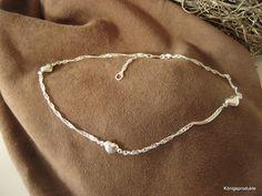 Fusskette, 1,6 mm Singapurkette mit 3 Herzen, 925er Silber, 25 cm (23+2 cm), NEU | eBay