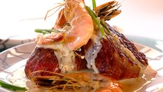 SURF AND TURF WITH FILLET AND PRAWNS - Everyone's favourite - a tender fillet covered with prawns and garlicky-creamy sauce. Delicious!