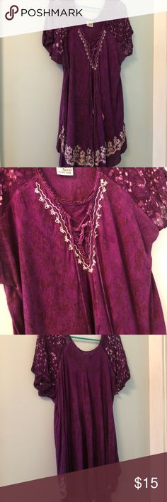 Purple short sleeve blouse Beautiful deep purple short sleeve top with lace up detailing at front bodice. 100% cotton. Some unraveling at hems. Size 22. Advance Apparels Tops Blouses