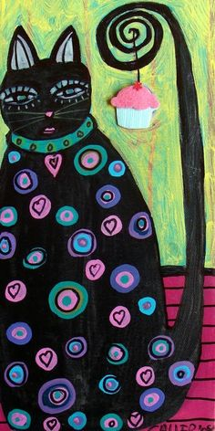 Black Cat Caught Cupcake by Heather Galler