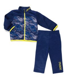 This Navy & Yellow Fleece Jacket & Pants - Infant & Toddler is perfect! #zulilyfinds